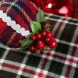 Christmas decoration ball Scottish pattern - Stock Photo