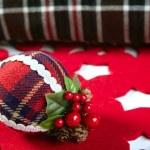 Christmas decoration ball Scottish pattern — Stock Photo #5504440