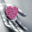Futuristic love silver valentine heart — Stock Photo