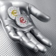 Stock Photo: Futuristic euro business coin silver hand