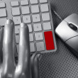 Computer keyboard mouse silver hand futuristic - Stock Photo