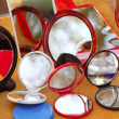 Foto Stock: Round colorful mirrors in shop