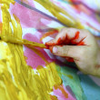 Children little artist painting hand brush colorful - Стоковая фотография