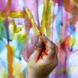 Children little artist painting hand brush colorful — Stock Photo