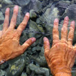 Hands underwater river water wavy shapes — Stock Photo