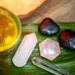 Aromatherapy, stones, oil, relaxing spa therapy — Stock Photo