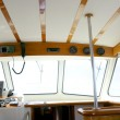 Classic fishing boat white and wood interior — Stockfoto