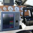 Boat control bridge, plotter, fishfinder, radar, power - Stock Photo