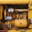 Diesel yellow tractor truck engine detail — Stock Photo
