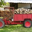 Firewood tractor in red color with stacked wood - Stock Photo