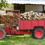 dříví traktorem v červené barvě s vrstvené dřevo — Stock fotografie