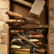 carpenter artist wooden craftman toolbox — Stock Photo