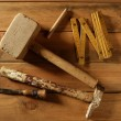 Royalty-Free Stock Photo: Carpenter tools saw hammer wood tape plane gouge