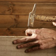 Carpenter hands with hammer wood and nail — Stock Photo #5505167
