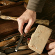 Stock Photo: Craftman carpenter hand tools artist
