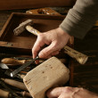 Craftman carpenter hand tools artist - Stock Photo