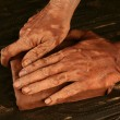 Pottery craftmanship potter hands work clay — Stock Photo #5505176