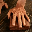Pottery craftmanship potter hands work clay — 图库照片