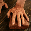 Pottery craftmanship potter hands work clay — Stok fotoğraf