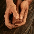 Pottery craftmanship potter hands work clay — Stock Photo