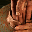Pottery craftmanship clay pottery hands work — Stock Photo
