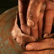 Stock Photo: Pottery craftmanship clay pottery hands work