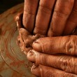 Pottery craftmanship clay pottery hands work — Stock Photo #5505191