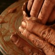 Pottery craftmanship clay pottery hands work — Stock Photo #5505192