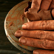 Pottery craftmanship clay pottery hands work - Stok fotoğraf