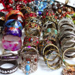 Bracelets jewelry showcase shop bargain — Stock Photo