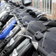 scooter mototbikes row many in rent store — Stock Photo #5505361