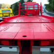 Tow car truck red rear view perspective platform — Stock Photo #5505453