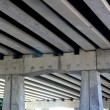 Bridge engineery beams concrete columns — Stock Photo