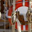 Sailboat wooden marine rigs and ropes — ストック写真