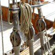 Sailboat wooden marine rigs and ropes — Stock Photo