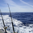 Fishing on the boat with trolling rod and reel. — Stock Photo