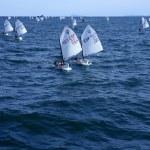 Optimist, recreation little sailboat regatta, Spain — Stock Photo
