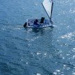 Optimist, recreation little sailboat regatta, Spain — Stock Photo