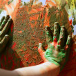 Children artist hands painting multi colors — Stock Photo #5505492