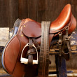 Horse riders complements, rigs, mounts, leather over wood — Foto de Stock