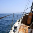Sailing with an old sailboat over mediterranean sea — Stock Photo