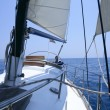 Sailing with an old sailboat over mediterranean sea - Stock Photo