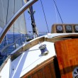 Sailing with an old sailboat over mediterranean sea — Stock Photo #5505559