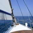 Sailing with an old sailboat over mediterranean sea — Stock Photo #5505562