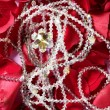 Shiny jewelry over red rose petals — Stock Photo
