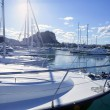 Beautiful marina, sailboats and motorboats — Stock Photo