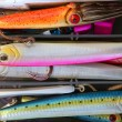 Stock Photo: Colorful fishing saltwater fish lures box
