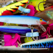 Colorful fishing saltwater fish lures box - Stock Photo