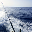 Boat trolling fishing on Mediterranean - Stock Photo