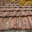 Architectural grunge aged roof clay tiles - Stock Photo
